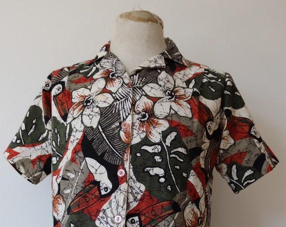 "Vintage 1970s 70s womens Hawaiian Tiki print shirt blouse 42"" chest UK 12 14 rockabilly summer"