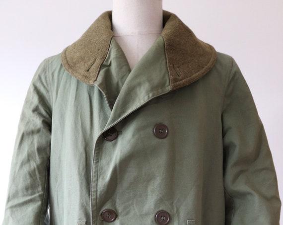 "Vintage 1940s 40s WW2 US army jeep mackinaw shawl collar jacket coat 1st pattern coat khaki green wool lined military M1938 46"" chest"