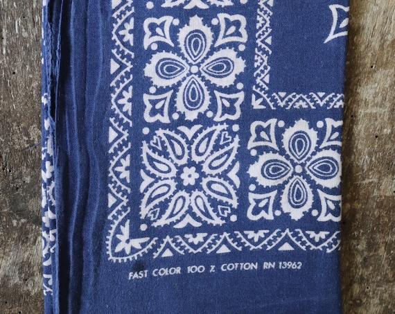 Vintage 1960s 60s indigo blue cotton colour color fast bandana neckerchief pocket square made in USA western cowboy