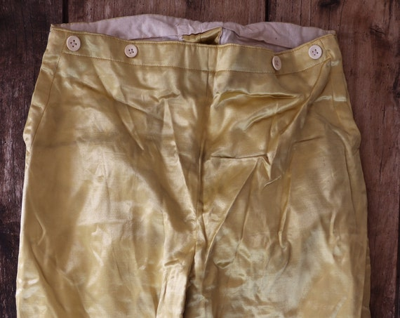 Antique 1880s french gold satin knickerbockers buckle back breeches Parisian theatre costume Mozart Cosi Fan Tutte named