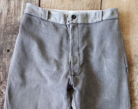 """Vintage 1940s 40s french grey pique corduroy hunting riding breeches 28"""" x 23"""" work workwear chore"""