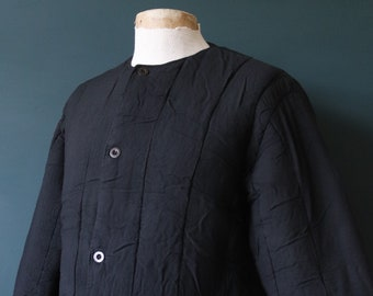 """Vintage 1960s 60s black Czech army tank liner quilted padded jacket military 46"""" chest work workwear chore"""