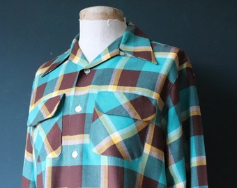 "Vintage 1960s 60s teal yellow brown flap pocket loop collar checked board shirt 46"" chest rockabilly"