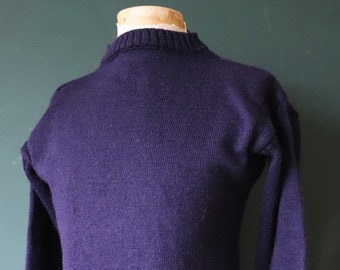 "Vintage navy blue Guernsey gansey fisherman sweater jumper wool Breton 39"" chest work workwear chore knitwear knitted boat neck"