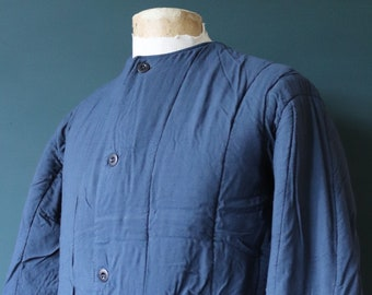"""Vintage 1960s 60s indigo dark blue Czech army tank liner quilted padded jacket military 44"""" chest work workwear chore"""