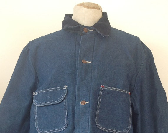 "Vintage Big Ben indigo blue denim work jacket blanket lined corduroy collar 50"" chest workwear chore railroad"