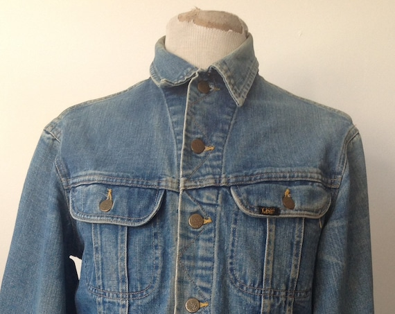 "Vintage 1980s 80s blue denim Lee 101 trucker jacket made in Canada workwear work chore 42"" chest"