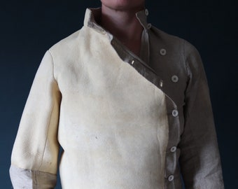 """Antique 1800s 1890s French linen chamois deerskin leather fencing jacket bone buttons back cinch sportswear deadstock unworn 37"""" chest"""