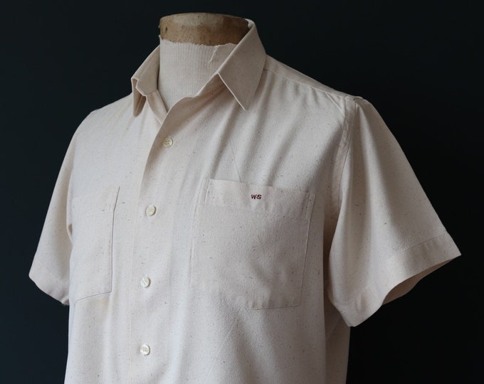 """Featured listing image: Vintage 1950s 50s cream atomic fleck flecked linen bowling shirt 48"""" chest high waist trousers rockabilly bowling neppy"""