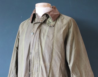 """Vintage 1970s 70s green Barbour Gamefair waxed cotton jacket waterproof made in England 51"""" chest XL"""
