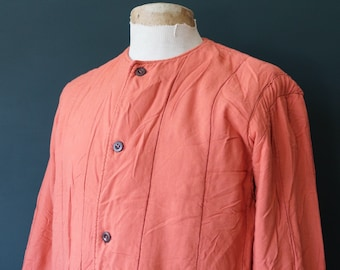 """Vintage 1970s 70s peach orange pink Czech army tank liner quilted padded jacket military 45"""" chest work workwear chore"""