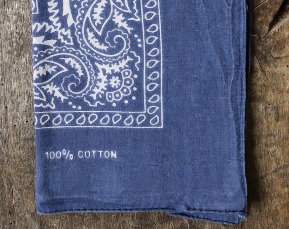 Vintage 1990s 90s cotton colourfast colorfast faded indigo blue bandana pocket square neckerchief paisley rockabilly western cowboy