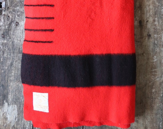 "Vintage 1950s 50s red black wool Hudson's Bay four point blanket Witney Canadian Mountie camping bed sofa throw king size 88"" x 75"""