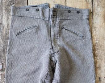 "Vintage 1950s 50s 1960s 60s french grey pique corduroy hunting riding breeches buckle cinch back 39"" waist XL workwear work chore jodhpurs"