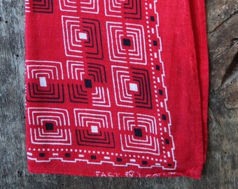 Vintage 1930s 30s 1940s 40s Elephant trunk down turkey red cotton bandana colour color fast workwear work chore (3)