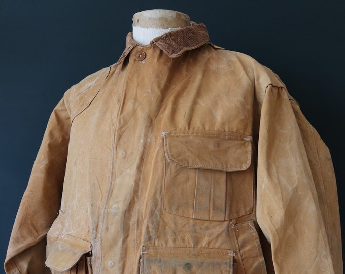 """Featured listing image: Vintage 1940s 40s 1950s 50s Hinson Bodyguard tan brown duck cotton canvas jacket hunting shooting American 52"""" chest XL workwear work chore"""
