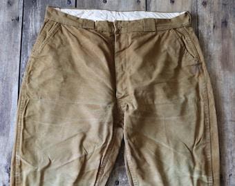 "Vintage 1960s 60s Bullseye Bill hunting trousers pants work workwear chore tin cloth duck cotton canvas 39"" x 28"" field utility XL"