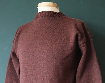 "Vintage Tricoteur brown Guernsey gansey fisherman sweater jumper wool Breton 42"" chest work workwear chore knitwear knitted boat neck"
