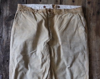 """Vintage 1950s 50s 1960s 60s hunting trousers pants work workwear chore tin cloth duck cotton canvas 36"""" x 27"""" field utility"""
