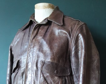 "Vintage 1950s 50s brown horsehide leather jacket Conmar zipper G-1 A2 flight bomber 43"" chest"