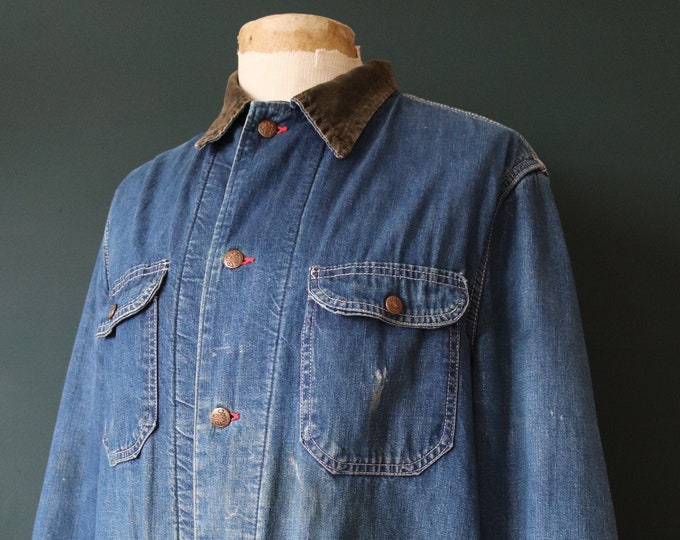 """Featured listing image: Vintage 1960s 60s Big Mac denim chore barn coat jacket work chore workwear 47"""" chest blanket lined triple stitched JC Penney"""