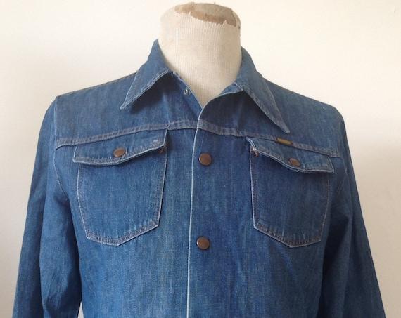 "Vintage 1970s 70s Maverick blue denim jacket 42"" chest disco hippy Easy Rider made in USA"