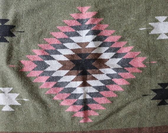 "Vintage pink green grey Mexican woven falsa blanket rug picnic camping 48"" x 81"" car"