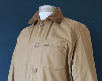 """Vintage 1950s 50s JC Higgins tan brown hunting shooting cotton canvas jacket work workwear chore 52"""" chest utility XXL"""