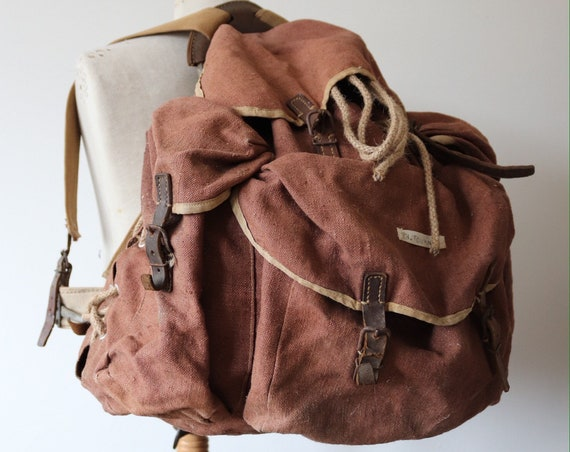 Vintage 1950s 50s large french brown canvas leather metal frame backpack rucksack bag hiking camping XL back pack ruck sack