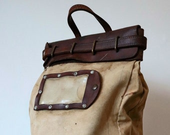 Vintage 1940s 40s 1950s 50s large leather canvas US American mail cash security bag luggage work workwear railroad railway