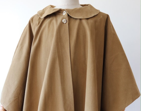 Vintage 1970s 70s womens tan brown cotton twill cape Peter Pan collar size free military reenactment style