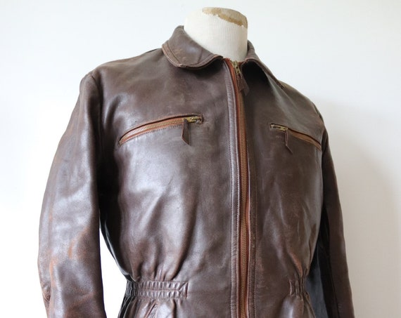 "Vintag 1940s 40s french brown leather jacket elasticated waist 42"" chest moleskin lining damaged repair project"