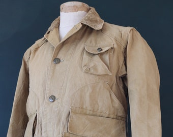 """Vintage 1940s 40s tin cloth duck cotton canvas hunting shooting jacket 45"""" chest Red Head American workwear work chore utility"""