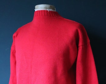 "Vintage Tricoteur red Guernsey gansey fisherman sweater jumper wool Breton 45"" chest work workwear chore knitwear knitted boat neck"
