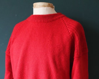 "Vintage red Guernsey gansey fisherman sweater jumper wool Breton 47"" chest work workwear chore knitwear hand knitted knit crew neck"
