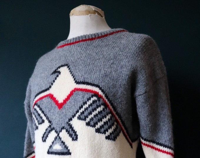 "Featured listing image: Vintage Woolrich grey cream red wool Thunderbird design sweater jumper crew neck 40"" chest knitwear knitted"