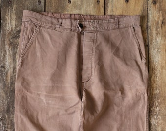 """Vintage 1960s 60s French brown cotton twill work chore workwear trousers pants darned repaired 38"""" x 26"""""""
