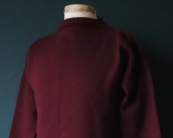 "Vintage burgundy Guernsey gansey fisherman sweater jumper wool Breton 42"" chest work workwear chore knitwear knitted boat neck"