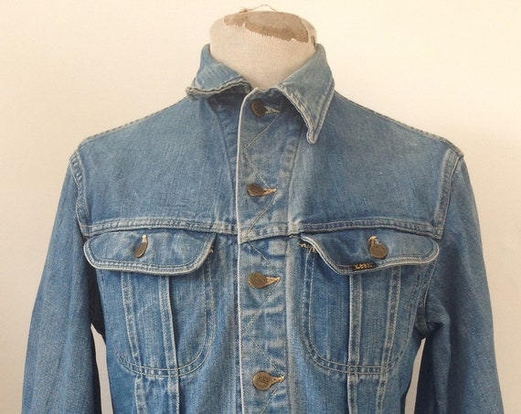 "Vintage 1970s 70s Lee 101 denim trucker jacket work workwear chore 42"" chest Union Made sanforized made in USA"