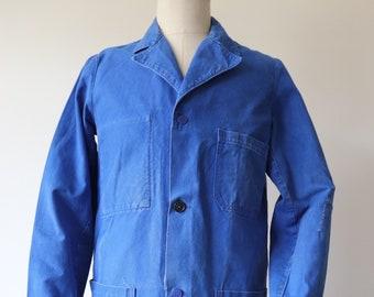 """Vintage 1960s 60s french blue bleu de travail cotton twill long chore work coat duster jacket 42"""" chest factory atelier"""