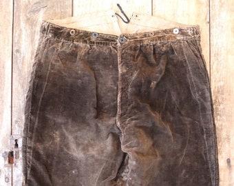 "Vintage antique 1800s 1900s french brown velour velvet knickerbockers breeches drawstring button fly 36"" waist"