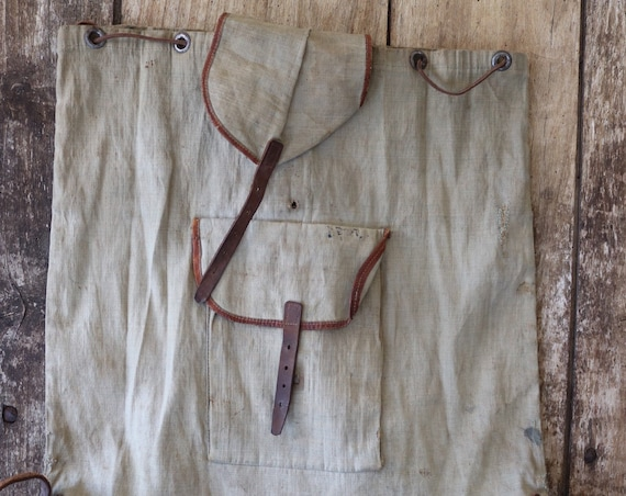 Vintage 1930s 30s cotton canvas leather backpack rucksack darned repaired walking hiking drawstring handmade