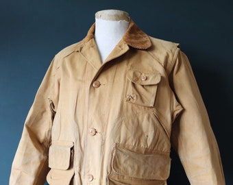 """Vintage 1940s 40s Red Head tan brown tin cloth duck cotton canvas hunting shooting jacket work workwear chore 46"""" chest American"""