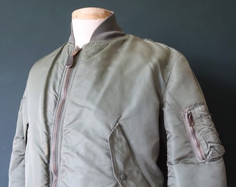 """Vintage 1980s 80s USAF us air force alpha industries MA-1 MA 1 flight jacket khaki green lining military 46"""" chest"""