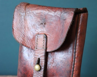 Vintage 1930s 30s Swedish army military brown leather hip belt bag pouch KG ammo cartridge tool hand stitched riveted festival garden