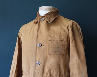 """Vintage 1950s 50s Ole Hickory duck cotton canvas hunting shooting jacket work workwear 43"""" chest weatherproof"""