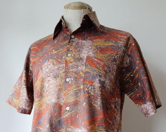 "Vintage 1970s 70s Hawaiian safari tiki shirt short sleeved rockabilly grey orange yellow volcano 42"" chest"