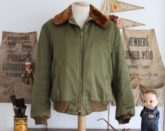 "Vintage 1950s 50s khaki green US Army B15 B-15 bomber jacket mouton collar military Korean War era summer quilted lining 46"" chest Talon zip"