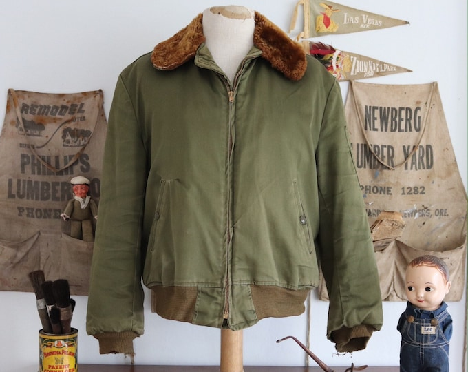 "Featured listing image: Vintage 1950s 50s khaki green US Army B15 B-15 bomber jacket mouton collar military Korean War era summer quilted lining 46"" chest Talon zip"