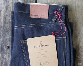 "Hiut Denim slim organic indigo jeans 31"" x 32"" handmade in Wales"